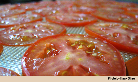 tomato slices drying