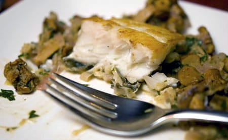 halibut with chanterelles