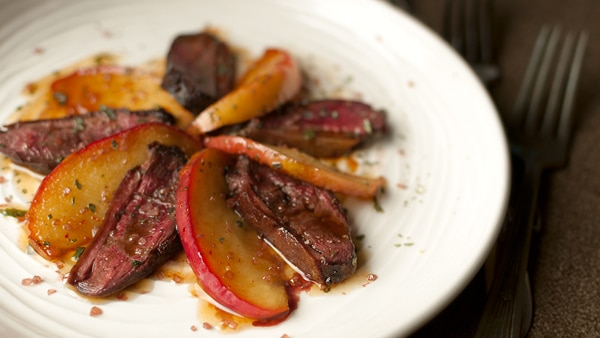 duck breast with apples side