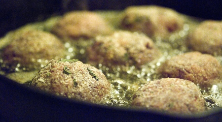 frying duck meatballs