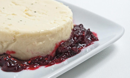 lemon verbena panna cotta with mulberry compote
