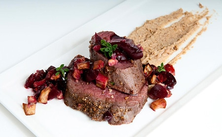 sous vide venison with porcini puree and cherries