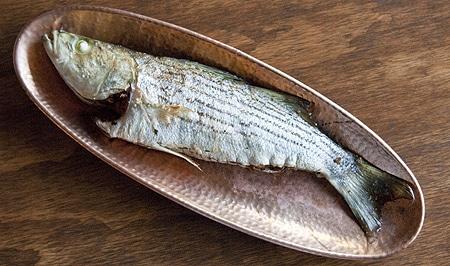 striped bass stuffed with chanterelles