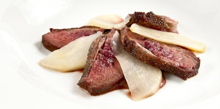 canada goose breast with poached pears