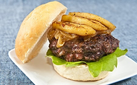 duck burger with apples and caramelized onions