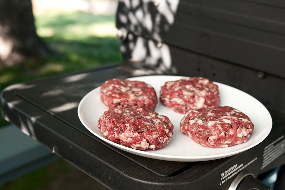 venison burgers on grill