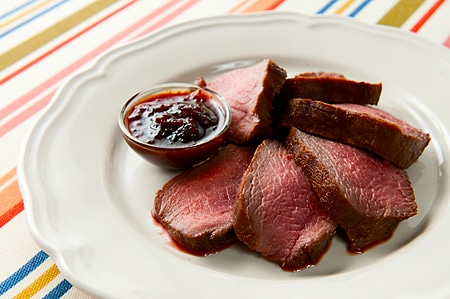 grilled venison loin with BBQ sauce