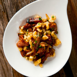 chanterelles with spaetzle