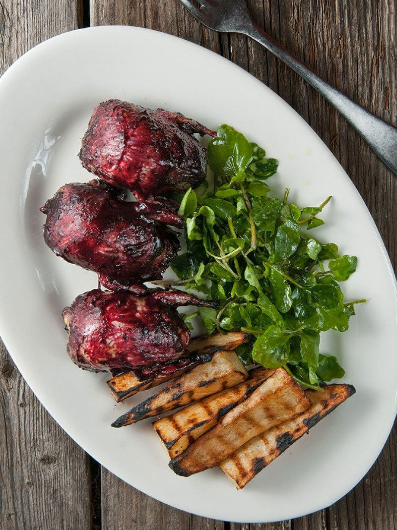 grilled doves with blueberry BBQ sauce