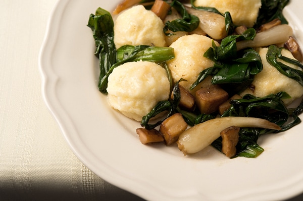ricotta gnudi with ramps and porcini