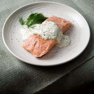 Poached Salmon with Dill-Horseradish Cream