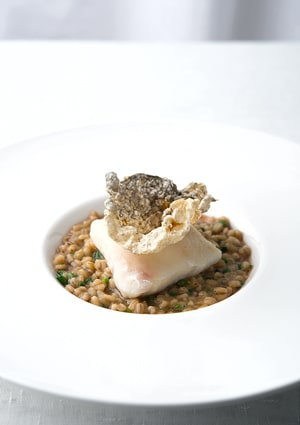 poached walleye with barley risotto