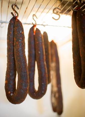 paprika salami hanging