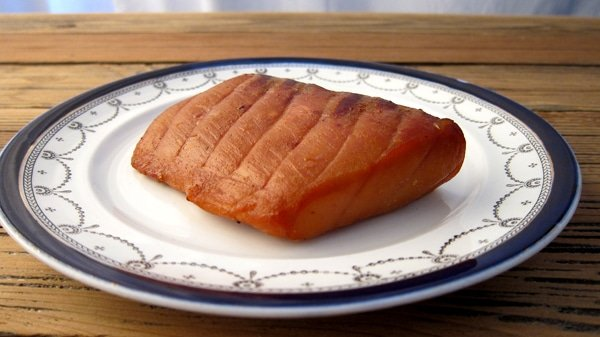 smoked sturgeon on plate
