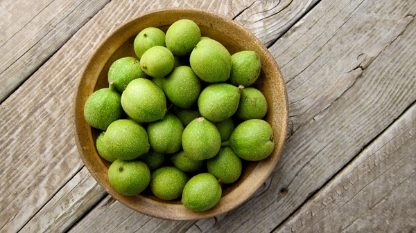 unripe, green walnuts