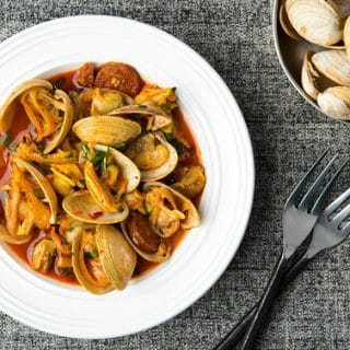 Spanish clams and chorizo recipe