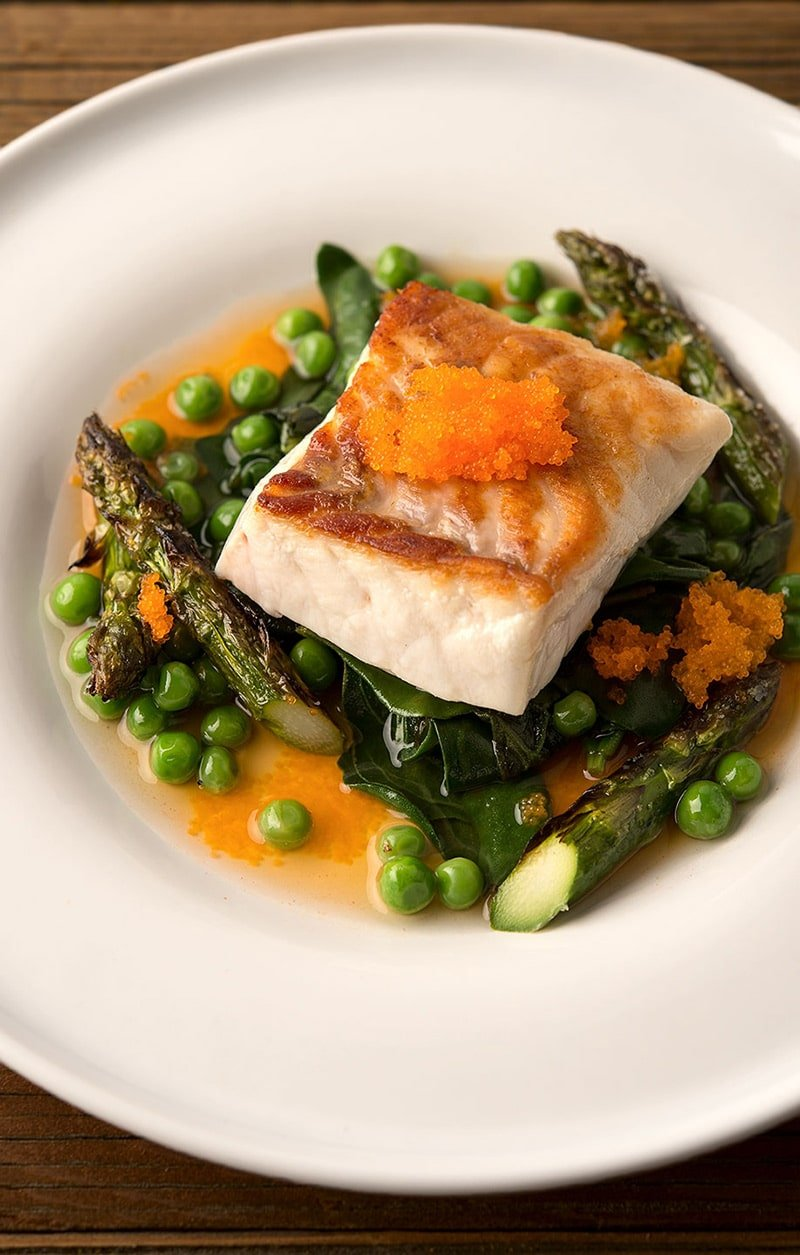Seared fish with spring vegetables for Fish and vegetable recipes