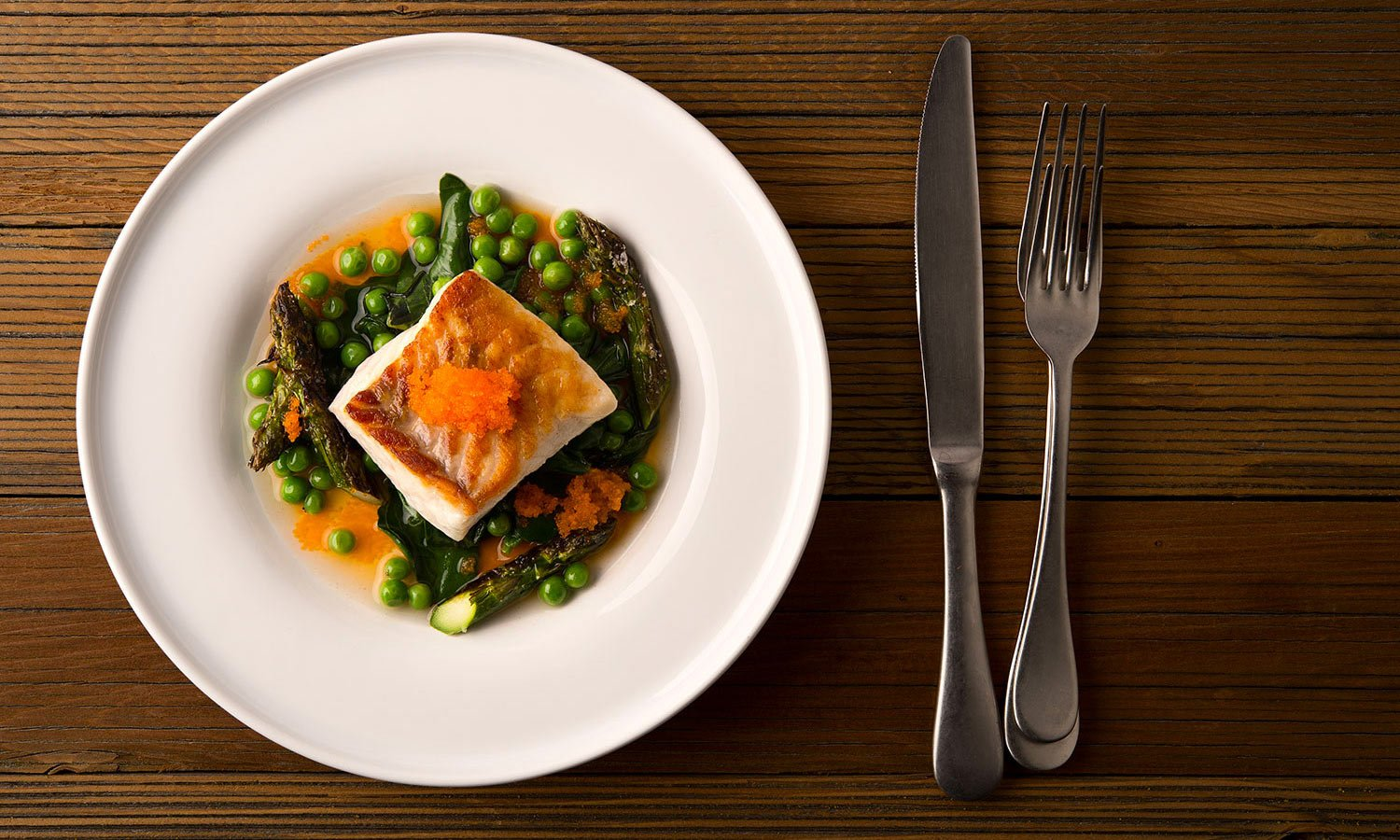 seared fish spring vegetables