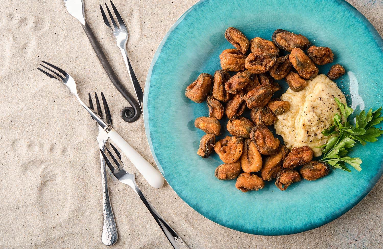 Greek fried mussels