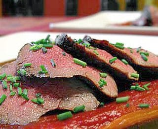 venison tenderloin with red peppers recipe