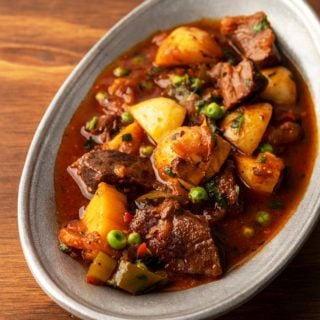 North African venison stew recipe in a serving bowl