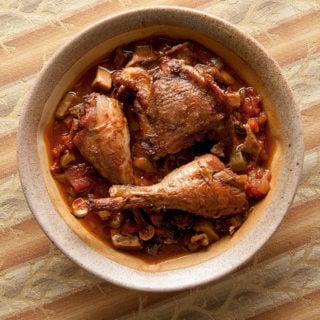 pheasant cacciatore in a bowl