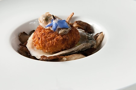 oyster mushrooms, salsify croquette, poached oyster