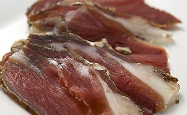 sliced goat ham, or mocetta