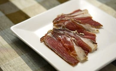 mocetta, or goat ham, on a plate