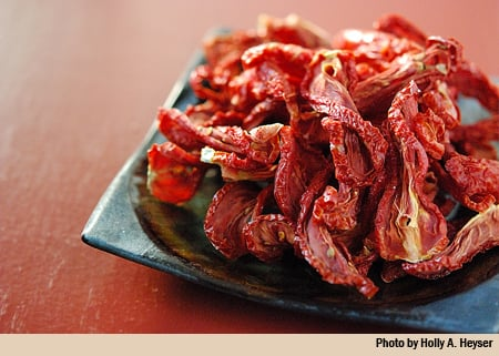 plate of dried tomatoes bottom