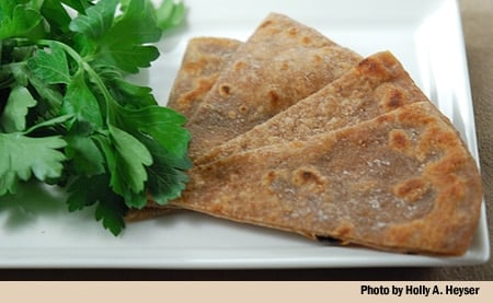 Wedges of acorn flatbread on a plate