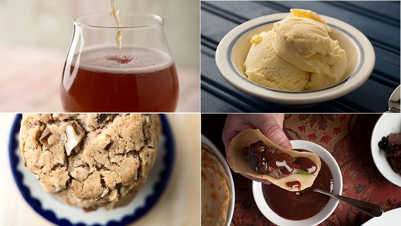 A montage of beer, ice cream, cookies and sauces made from wild edible plants