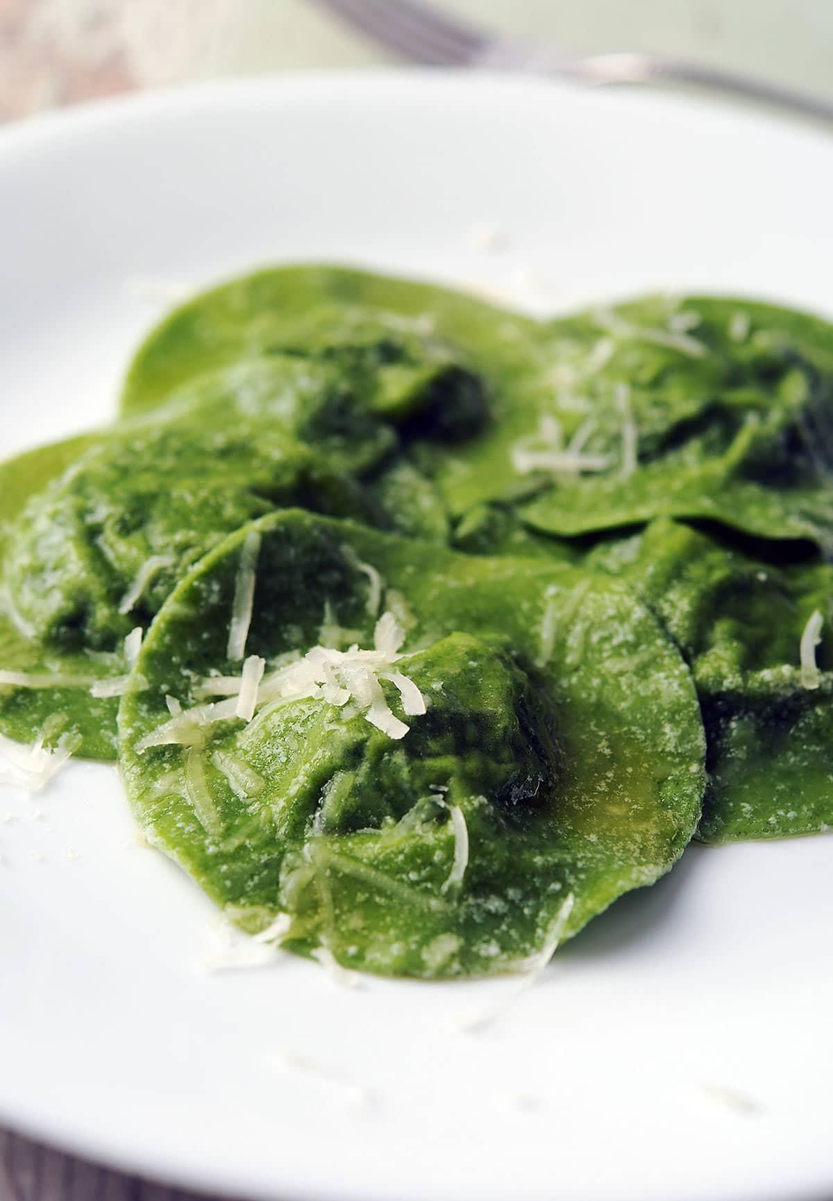 Nettle ravioli on a plate