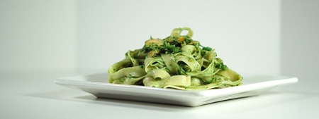 Rye flour tagliatelle with salmon and nettle pesto