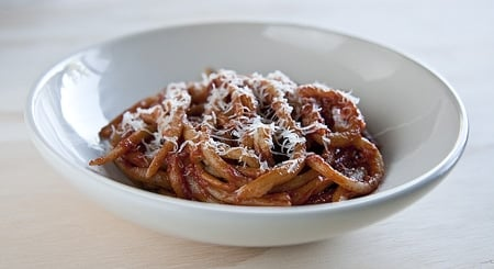 pici pasta with tomato fennel sauce