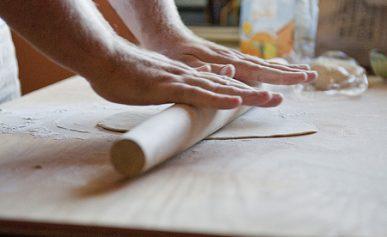 rolling pici dough