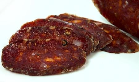 Slices of cacciatore salami