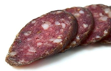 Slices of landjaeger sausage