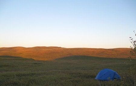 Camping in the North Dakota prairie.