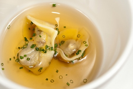 duck liver tortellini and duck consomme
