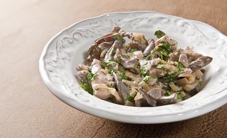pheasant with blewit mushrooms and cream