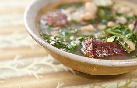 Portuguese linguica stew recipe in a bowl
