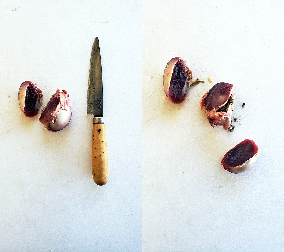How to clean gizzards with two knife cuts