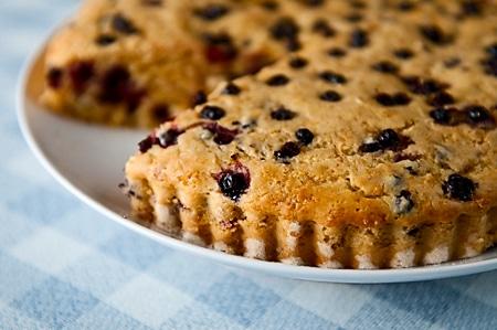 Closeup of the huckleberry cake recipe
