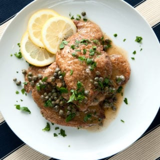 Finished pheasant piccata recipe on the plate