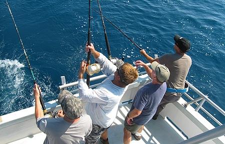 three of us hook into tuna in North Carolina