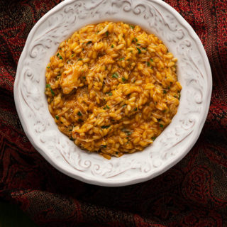 crab risotto in a bowl