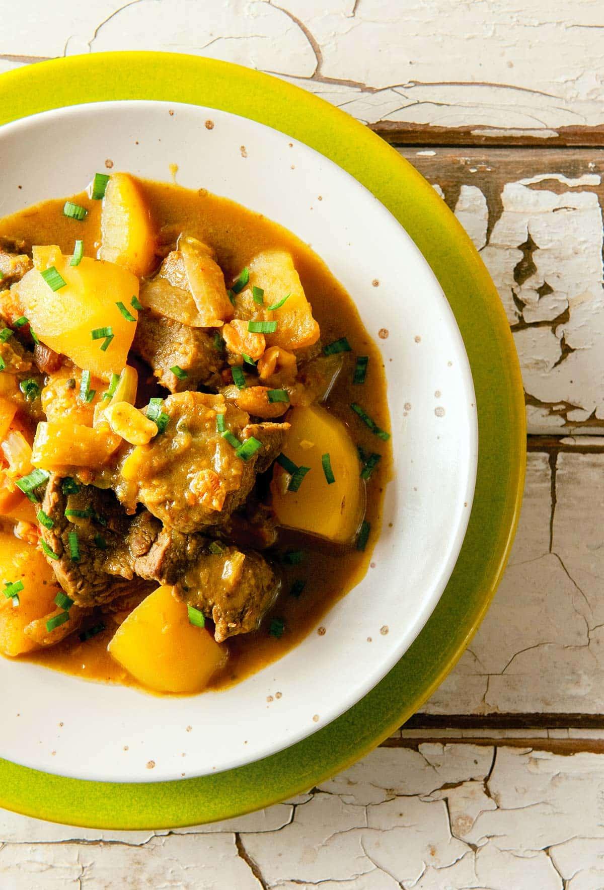 A bowl of massaman venison curry