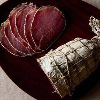 Finished bresaola, with slices.