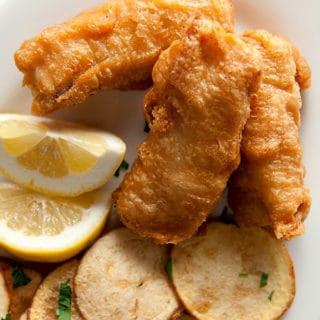 classic fish and chips on a platter